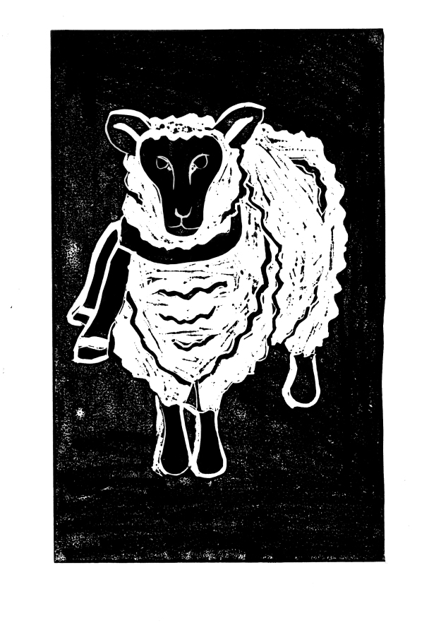 Sheep Lino Cut