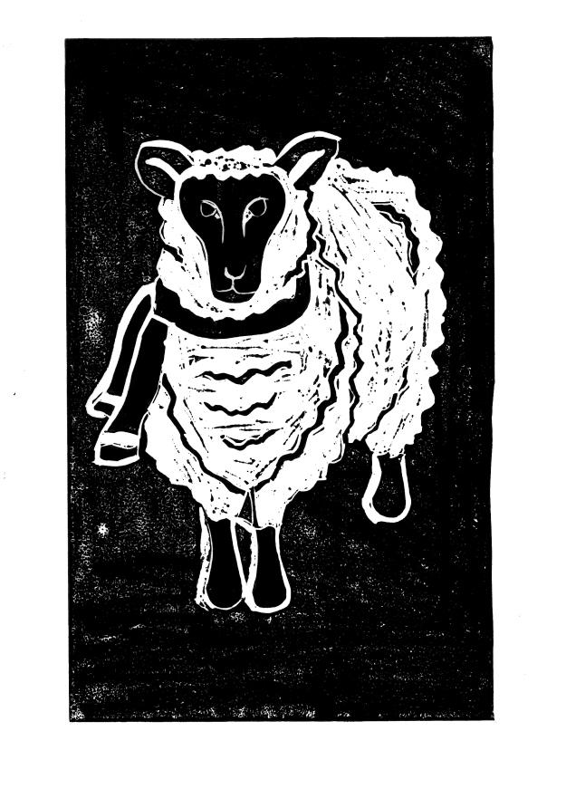 Sheep Lino Cut